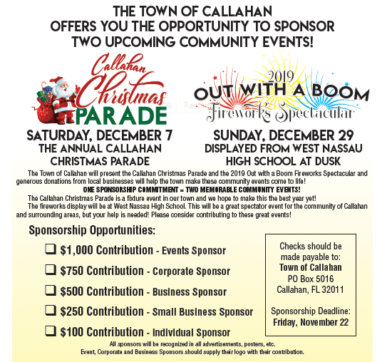 Christmas Parade Sponsor Info - Please Contact Town hall if you need a reading of what is on this image